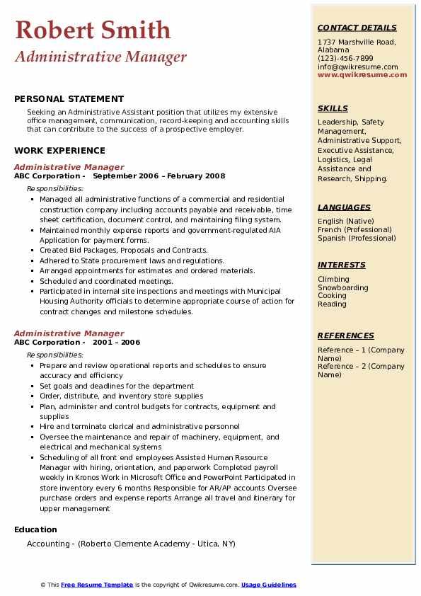 Administrative Manager Resume Samples Qwikresume