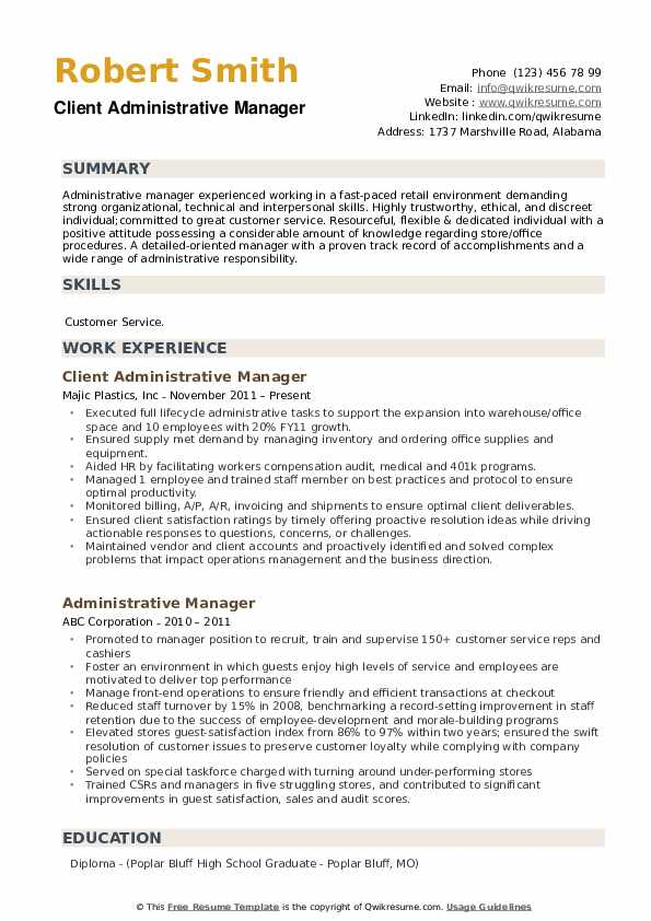 Client Administrative Manager Resume Model