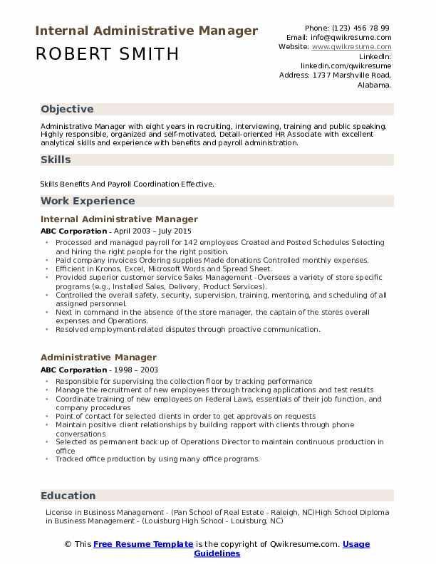 Internal Administrative Manager Resume Model