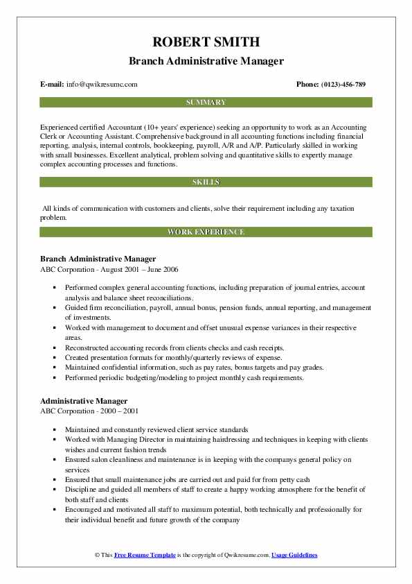 Branch Administrative Manager Resume Example