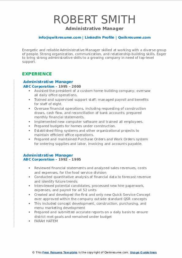 Administrative Manager Resume Sample