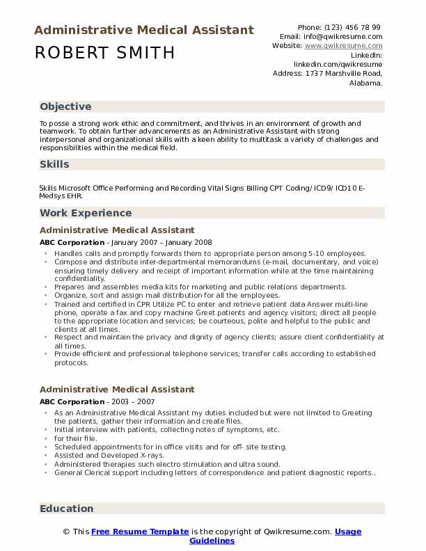 Administrative Medical Assistant Resume Example