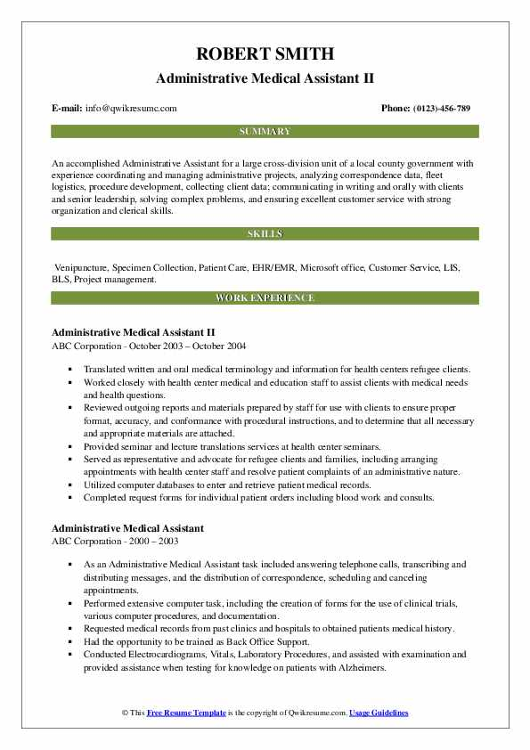 Administrative Medical Assistant II Resume Template