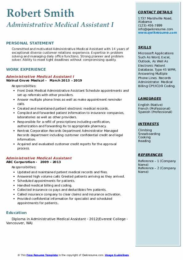 Administrative Medical Assistant I Resume Example
