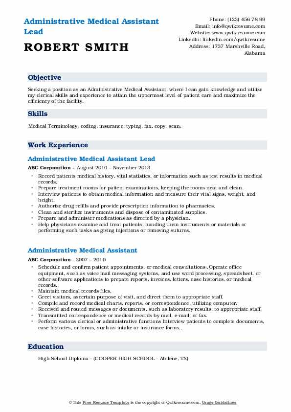 Administrative Medical Assistant Lead Resume Template