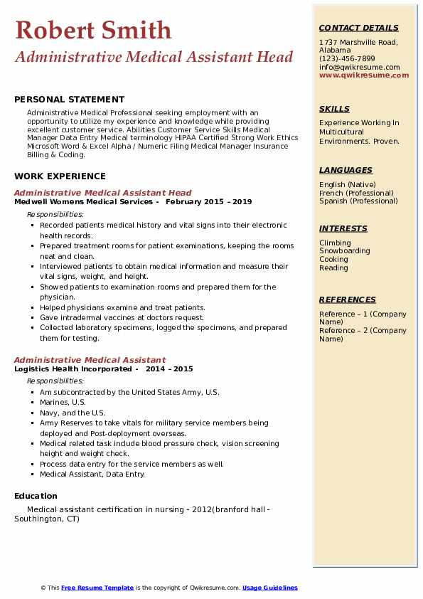 Administrative Medical Assistant Head Resume Example