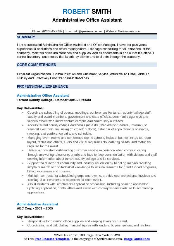 Administrative Resume Samples Examples And Tips
