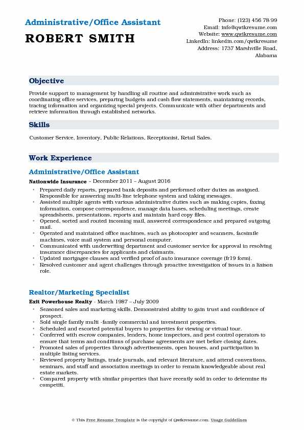 Administrative/Office Assistant Resume Format
