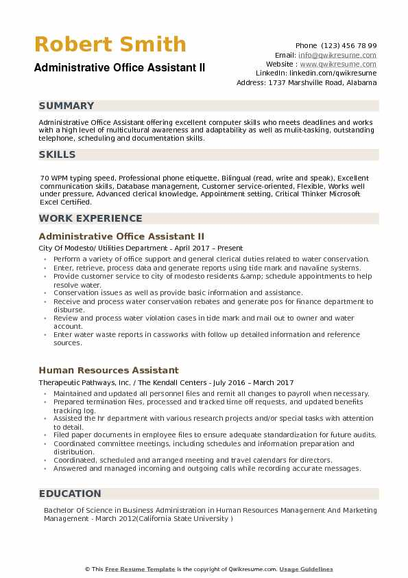 Administrative Office Assistant Resume example