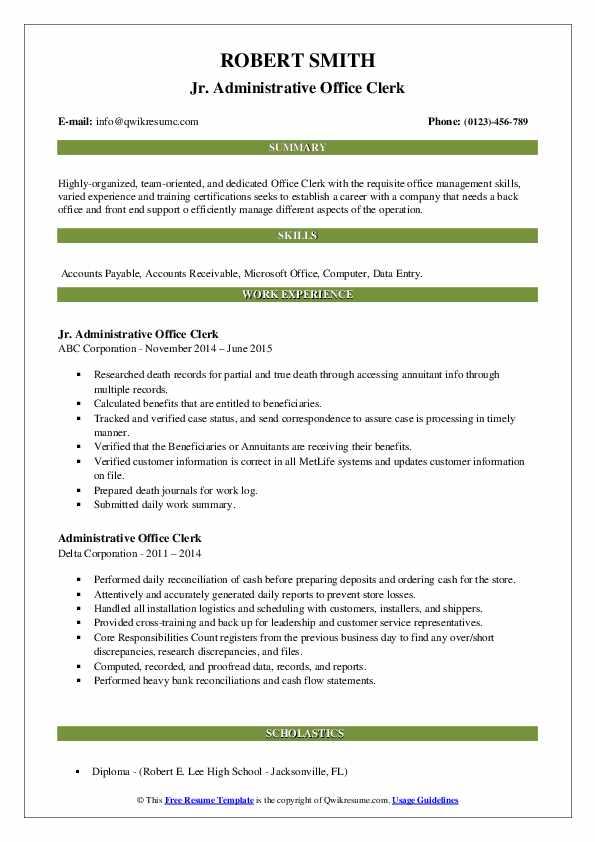 administrative office clerk resume samples  qwikresume