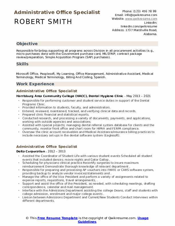 administrative office specialist resume samples  qwikresume