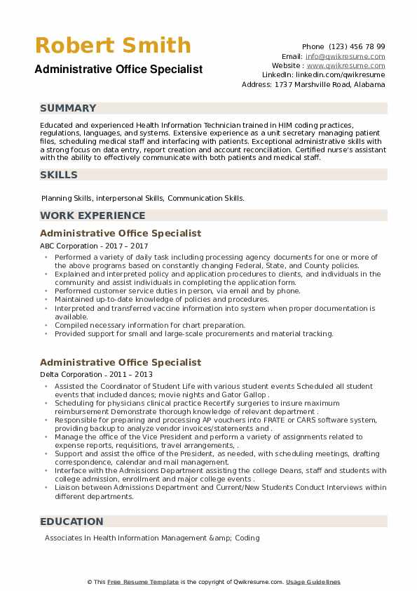 Administrative Office Specialist Resume example
