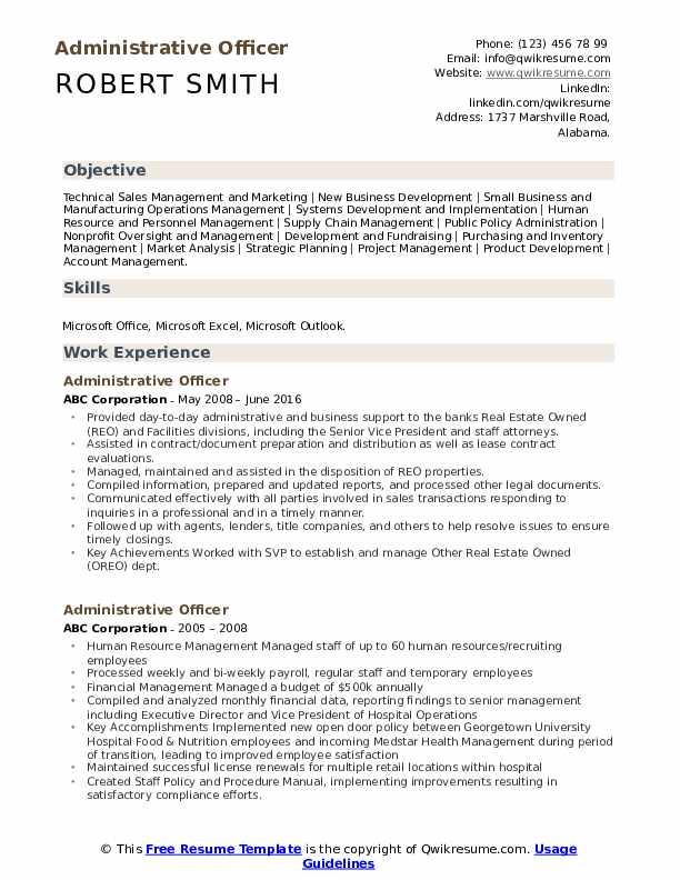 Administrative Officer Resume Model