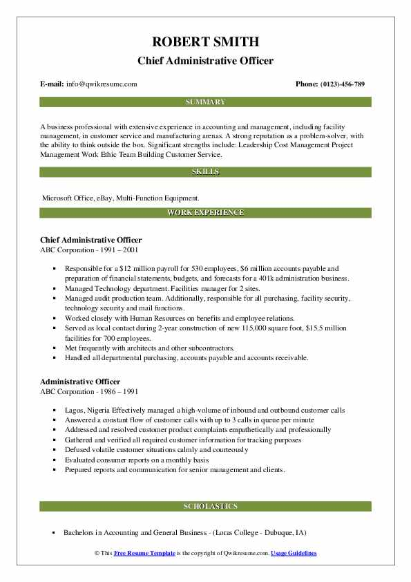 Chief Administrative Officer Resume Format
