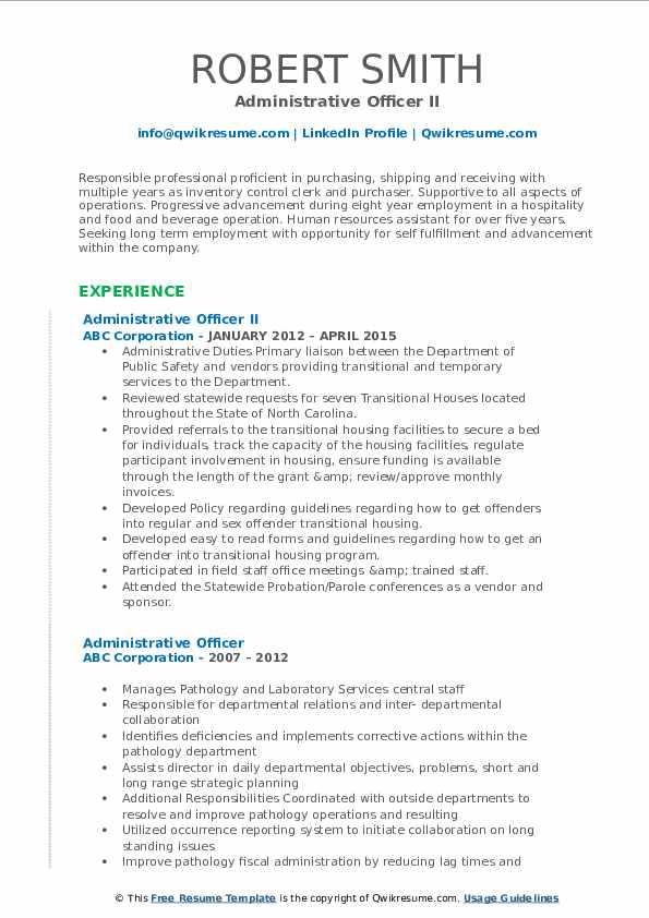 Administrative Officer II Resume Sample