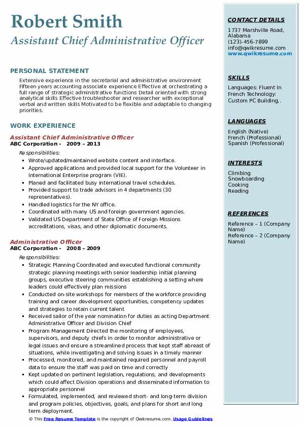 Assistant Chief Administrative Officer Resume Template