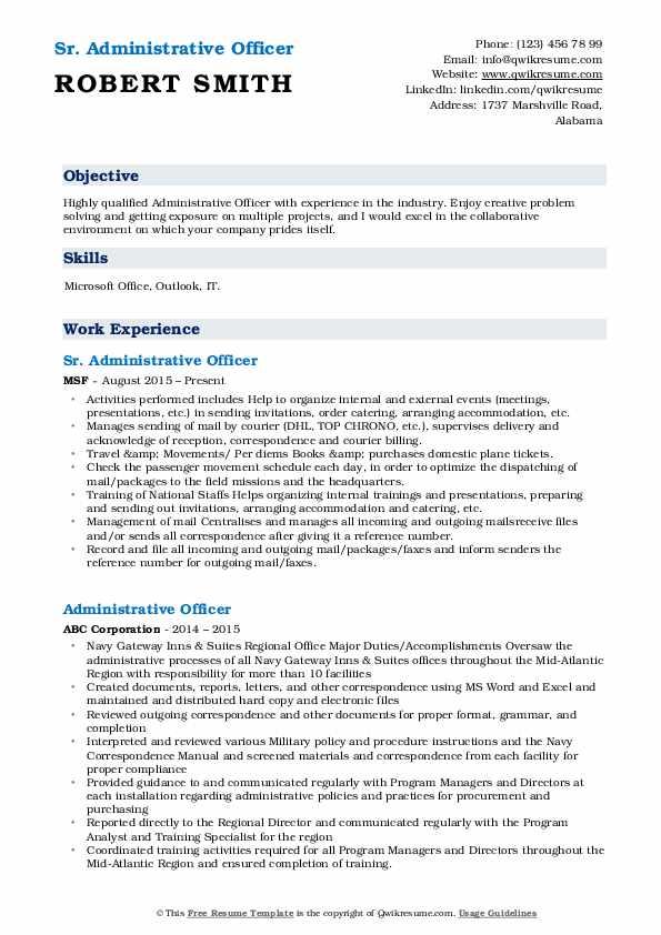 Sr. Administrative Officer Resume Format