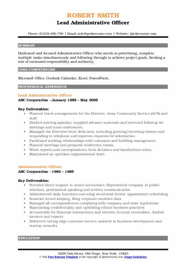 Lead Administrative Officer Resume Template