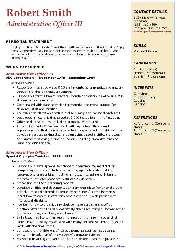 Administrative Officer III Resume Template