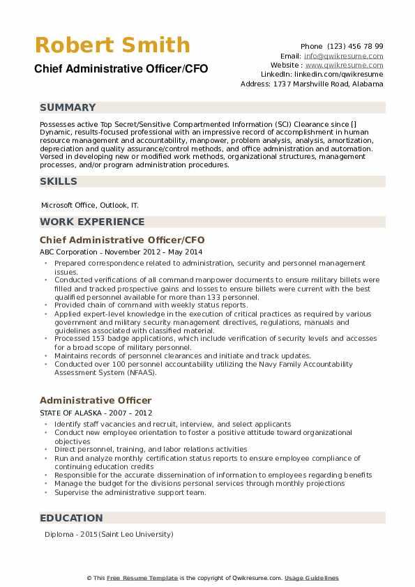 Chief Administrative Officer/CFO Resume Model