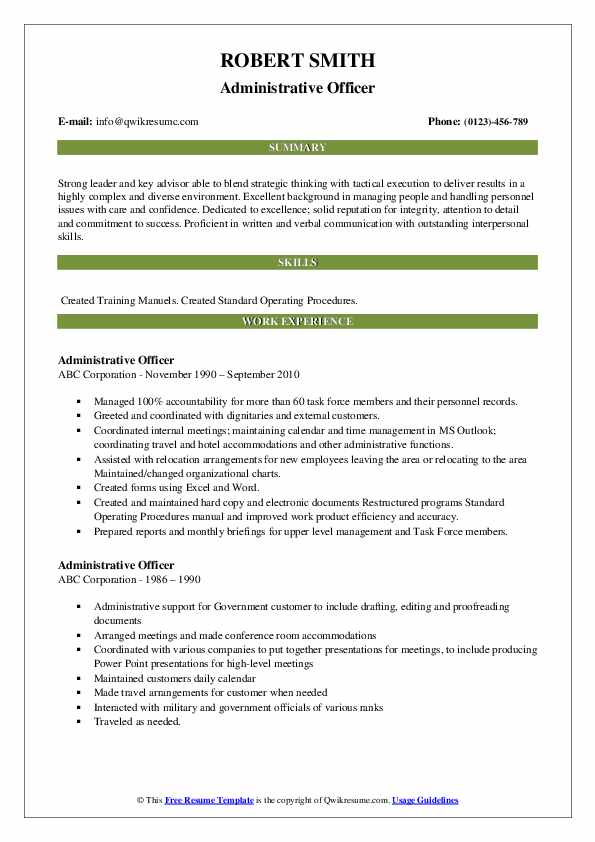 Administrative Officer Resume example