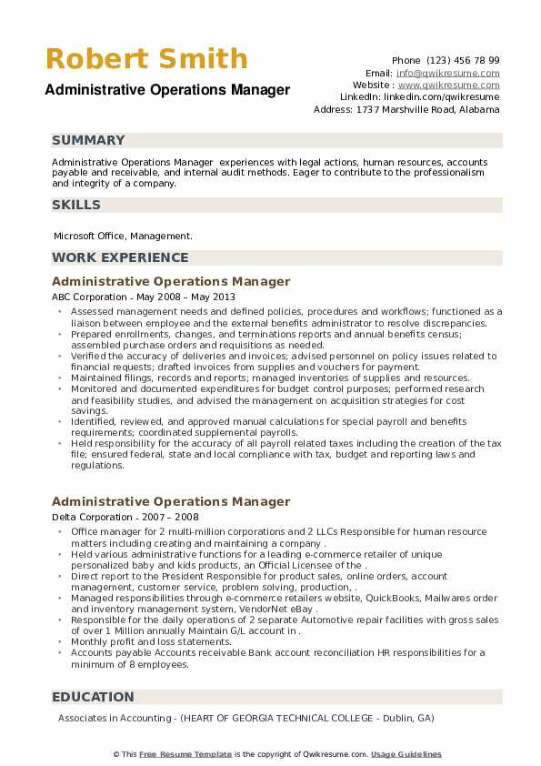 Administrative Operations Manager Resume example
