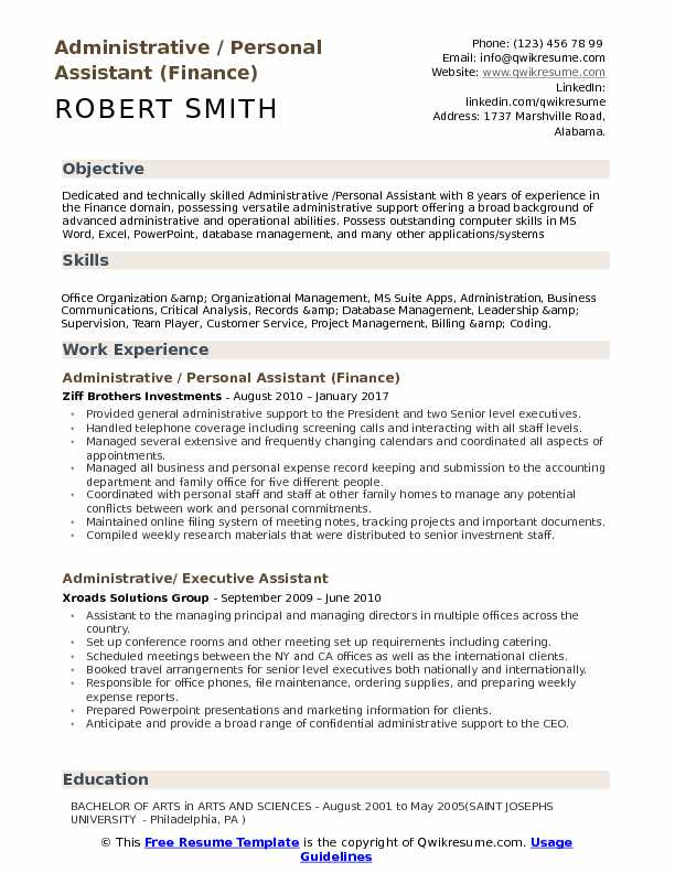 Administrative / Personal Assistant (Finance) Resume Model