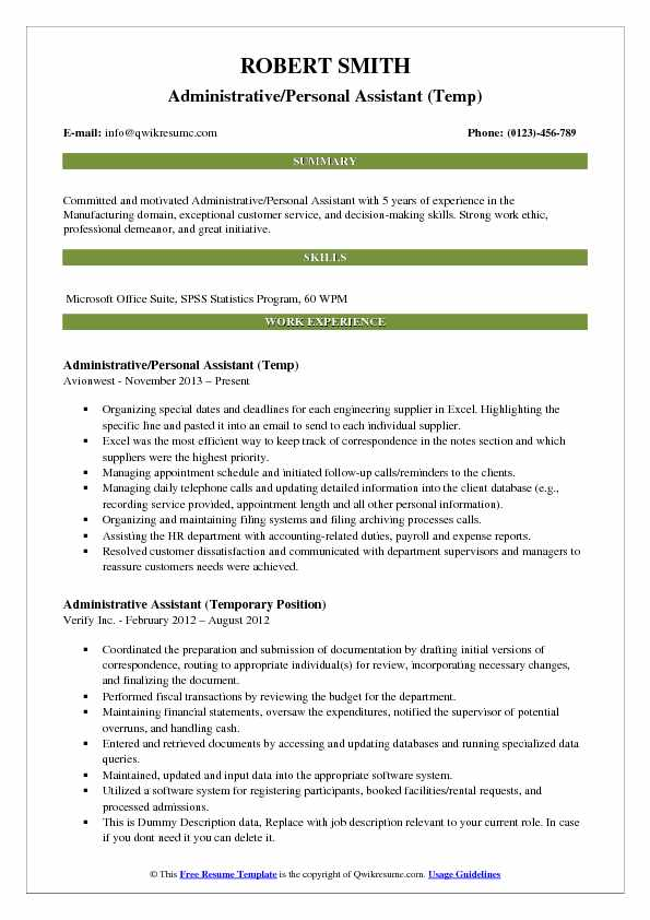Administrative/Personal Assistant (Temp) Resume Template