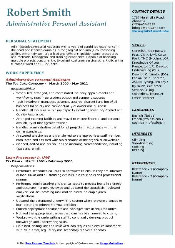 Administrative Personal Assistant Resume Model