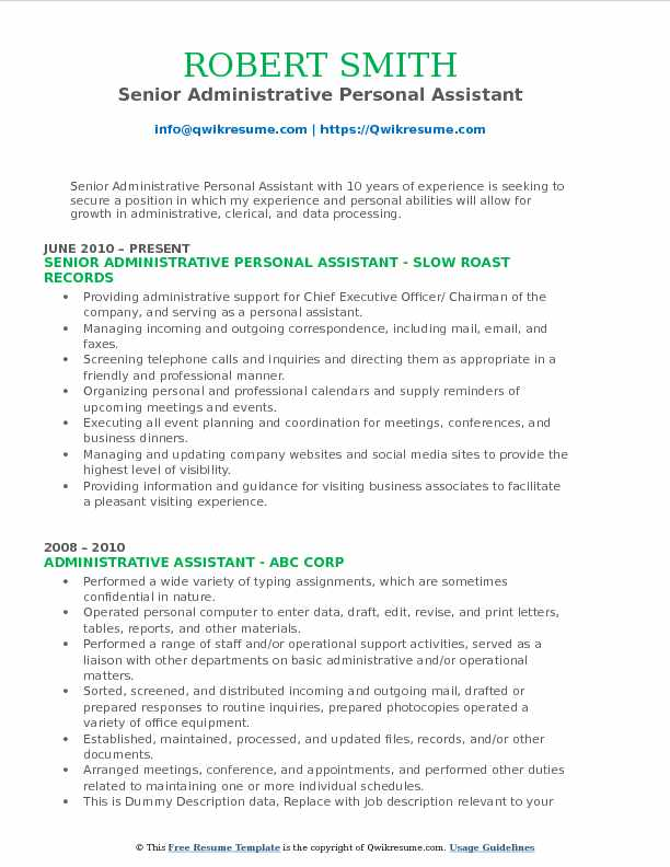 Senior Administrative Personal Assistant Resume Model
