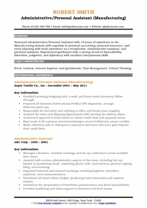 Administrative Personal Assistant Resume Samples Qwikresume