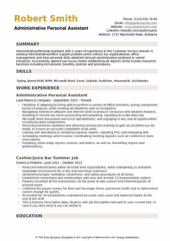 Administrative Personal Assistant Resume Template