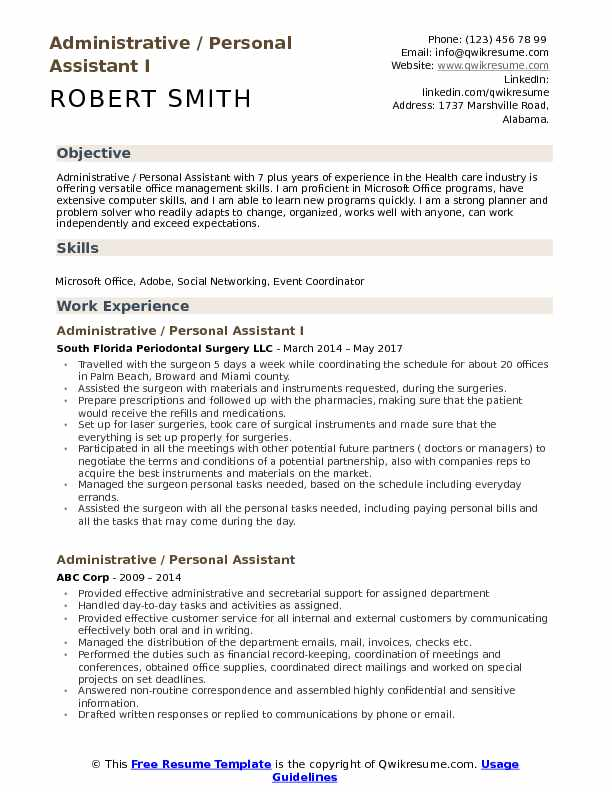 Administrative / Personal Assistant I Resume Model