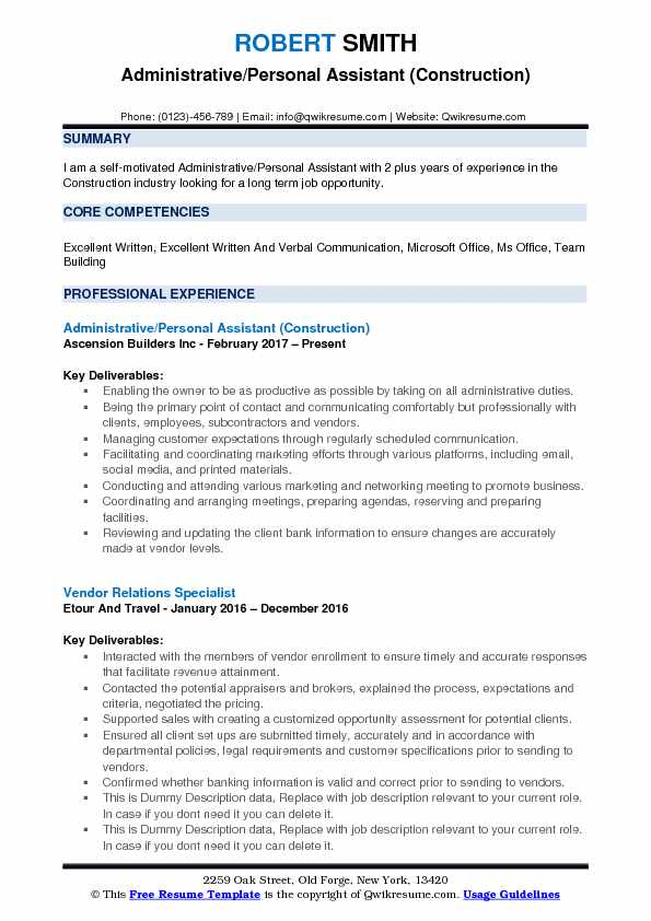 Administrative/Personal Assistant (Construction) Resume Sample