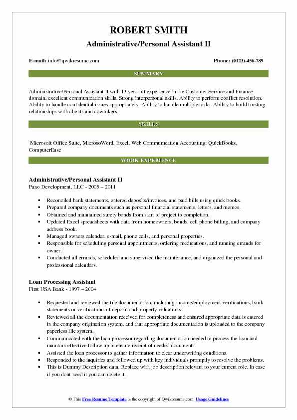 Administrative/Personal Assistant II Resume Sample