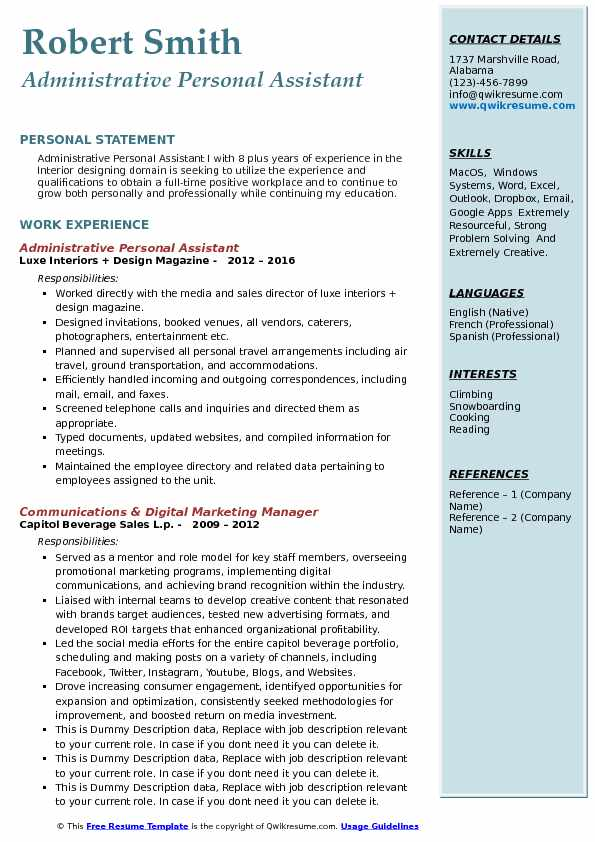 Administrative Personal Assistant Resume example