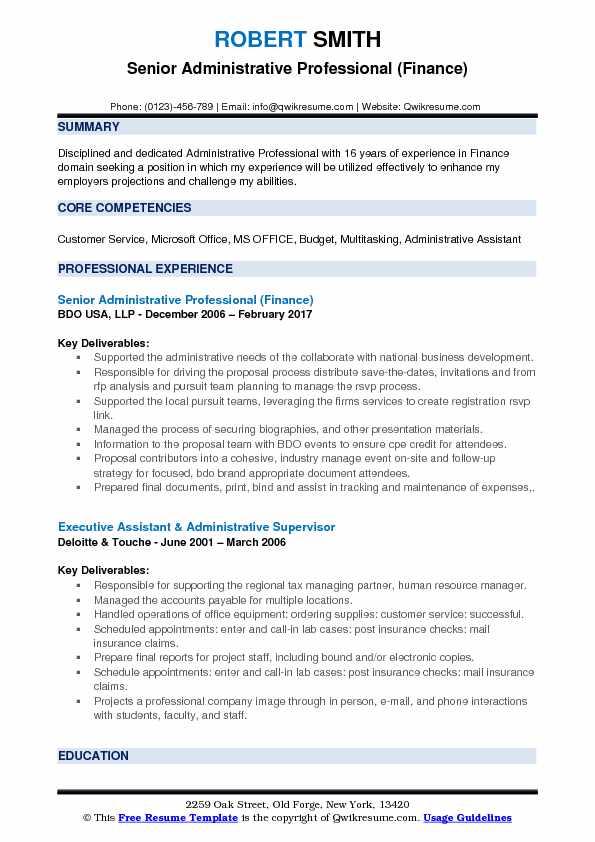 Senior Administrative Professional (Finance) Resume Sample