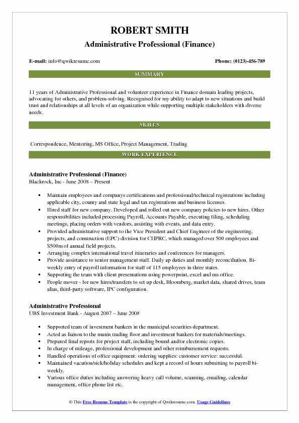 Administrative Professional (Finance) Resume Sample