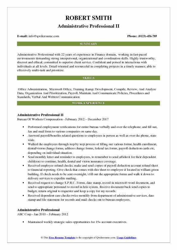 Administrative Professional II Resume Format