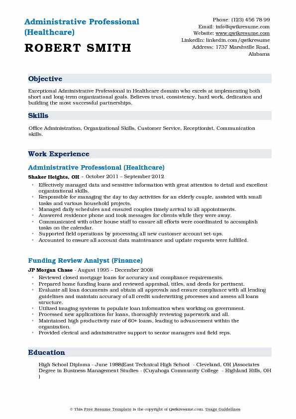 Administrative Professional (Healthcare) Resume Format