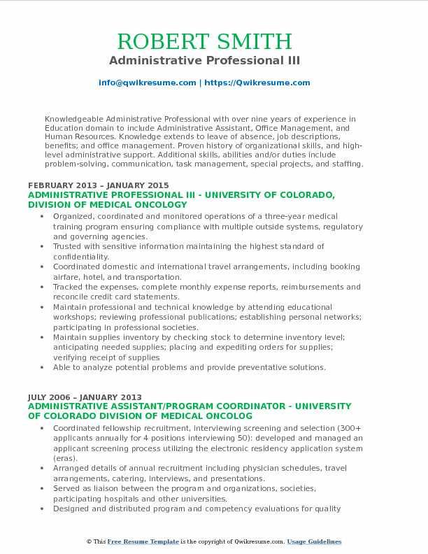 Administrative Professional III Resume Model
