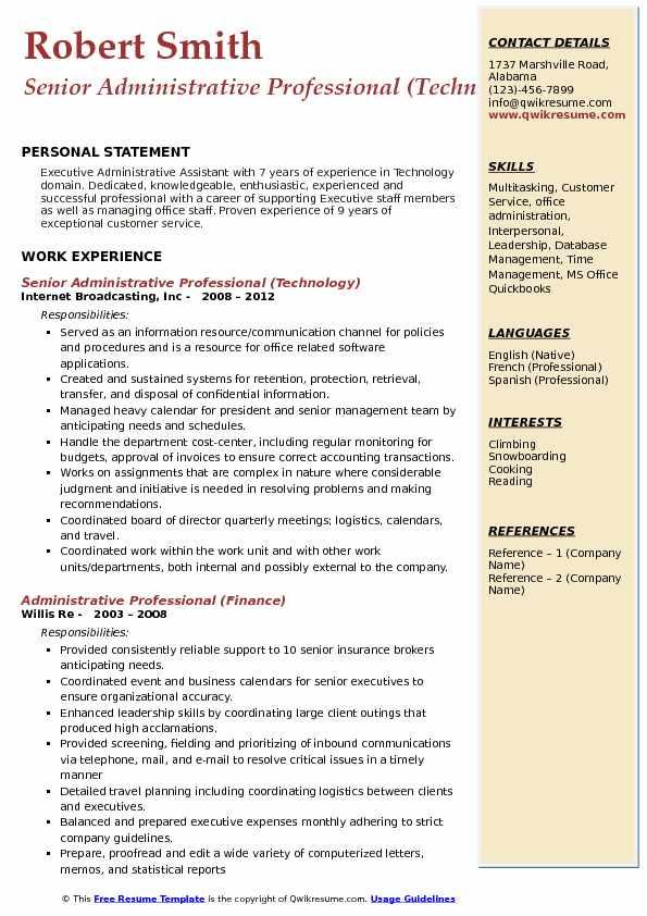 Senior Administrative Professional (Technology) Resume Sample