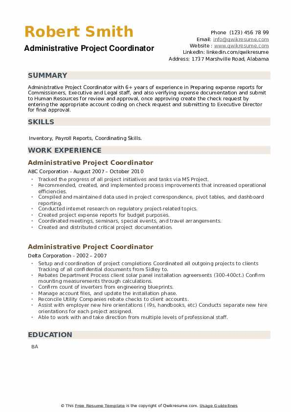 Administrative Project Coordinator Resume example