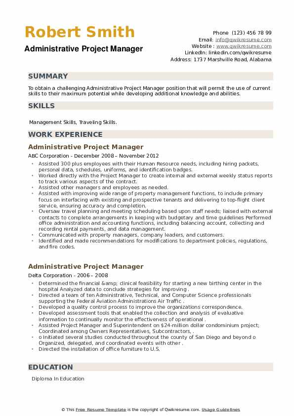 Administrative Project Manager Resume example