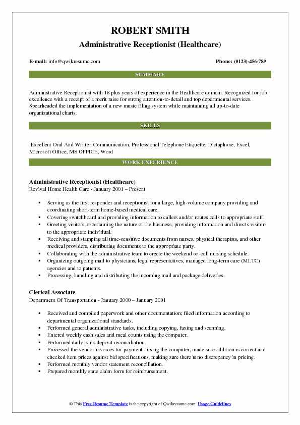 Administrative Receptionist (Healthcare) Resume Template