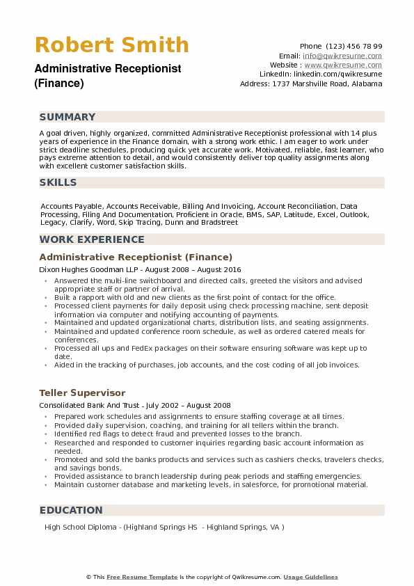 Administrative Receptionist (Finance) Resume Format