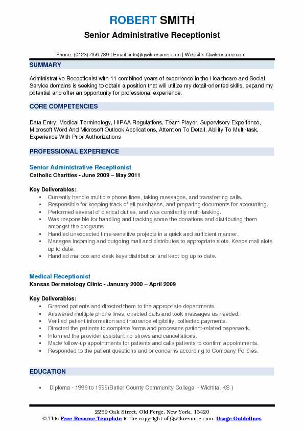 Senior Administrative Receptionist Resume Model
