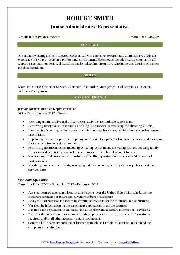 Junior Administrative Representative  Resume Example