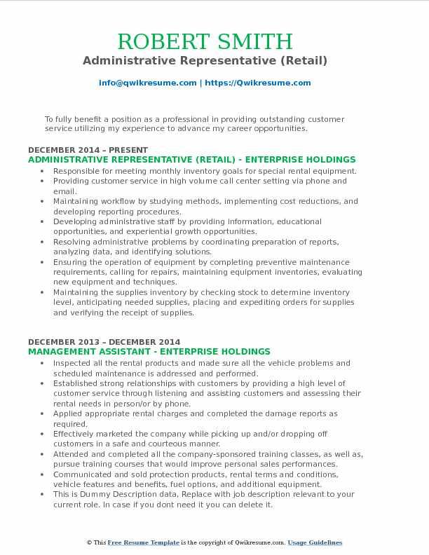 Administrative Representative (Retail) Resume Model