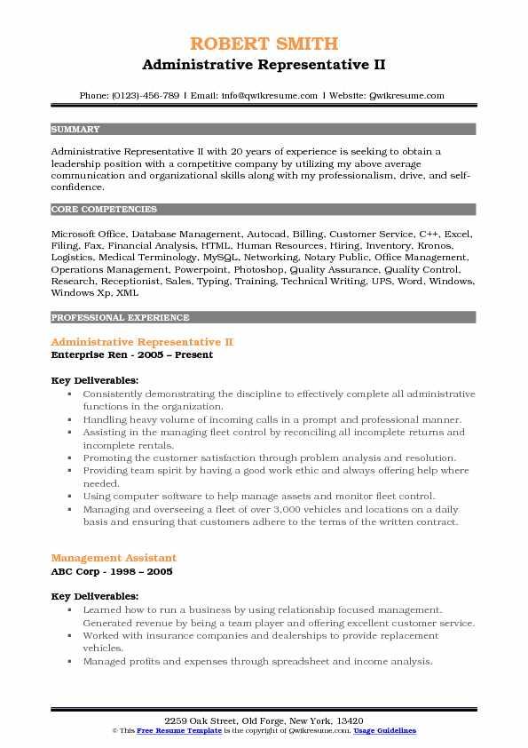 Administrative Representative II Resume Template